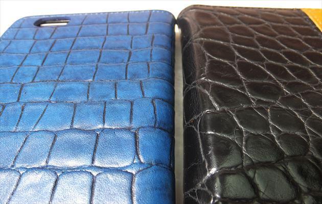 染料仕上げの本革と顔料仕上げの合皮との比較写真