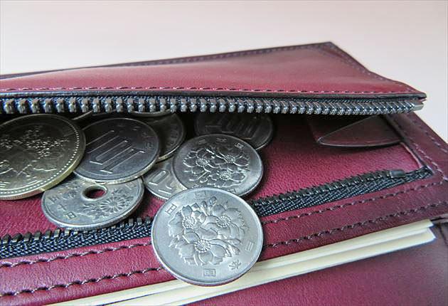小銭入れ部分にコインを10枚いれてみた