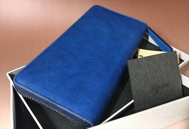 スクモレザー長財布Bluestoneの開封写真